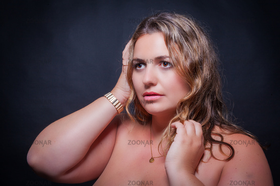 Portrait of an overweight young woman