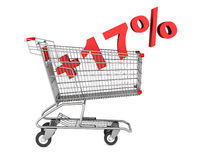 shopping cart with plus 17 percent sign isolated