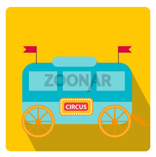Circus trailer, wagon icon flat style with long shadows, isolated on white background. illustration.