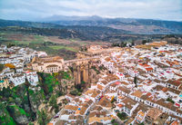 Aerial photography Ronda cityscape. Spain