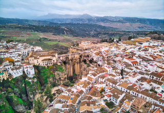 Aerial photography Ronda cityscape. Spain