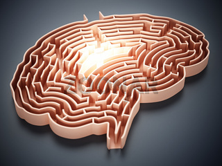 Brain shaped maze with a glow at the center. 3D illustration