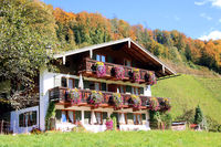 Bavarian house with flower decoration