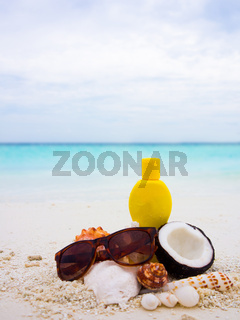 Chopped coconut on the beach