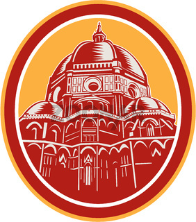 Dome of Florence Cathedral Front Woodcut