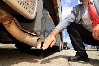Air pollution caused by truck exhaust gases