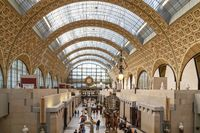 Paris, France - March 28, 2017: Interior view of Museum Orsay in Paris. Musee d'Orsay houses the largest collection of impressionist and post-Impressionist masterpieces in the world