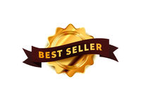 Bright golden badge with brown tape, glossy best seller icon on white