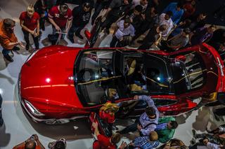 FRANKFURT - SEPT 21: new 2014 Tesla Model S eletric auto presented as world premiere at the 65th IAA (Internationale Automobil Ausstellung) on September 21, 2013 in Frankfurt, Germany