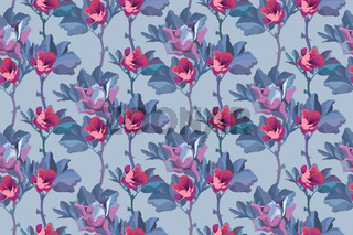 Vector floral seamless pattern. Flowers background. Small pink buds of roses.