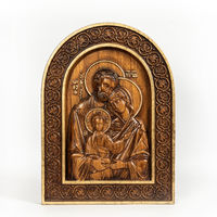Wooden icon Holy Family on an isolated background.