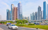 Sheikh Zayed Road with modern skyscrapers in Dubai