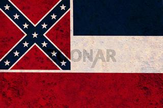 Fahne von Mississippi auf rostigem Metall - Flag of Mississippi on rusty metal