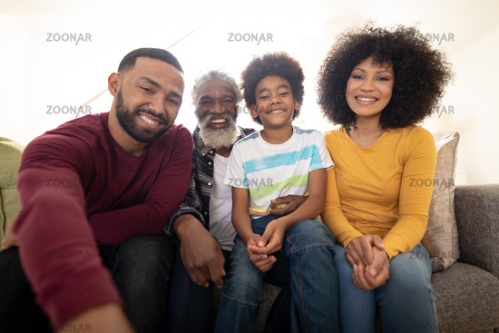 Portrait of Multi generation family smiling at home
