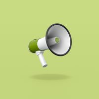 Green and White Megaphone on Green Background