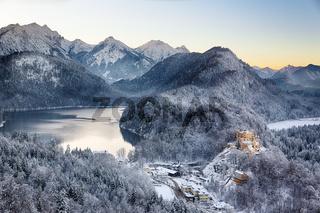 Hohenschwangau Castle at wintertime, Alps, Germany