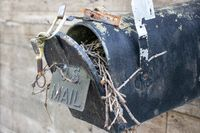 Close up of the front of an Old Abandoned country mail box with bird nest inside it on the side of a