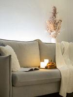 Cozy scandinavian style halloween interior