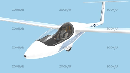 3D rendering of a glider plane isolated on blue sky background