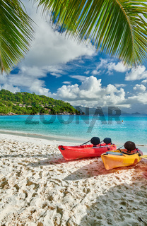 Beach with kayaks and palm tree at Seychelles