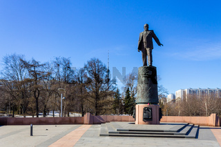 Panorama of Sergei Korolev Sculpture near Rocket Monument to the Conquerors of Space in Moscow, Russia.