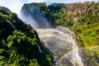 Huge rainbow in the water mist