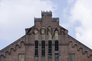 Giebel der Maschinenhalle Zeche Radpod in Hamm, Deutschland