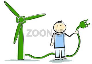 stickman character standing next to wind turbine, green renewable energy concept