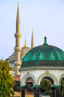 Blue Mosque And The German Fountain, Istanbul, Tur