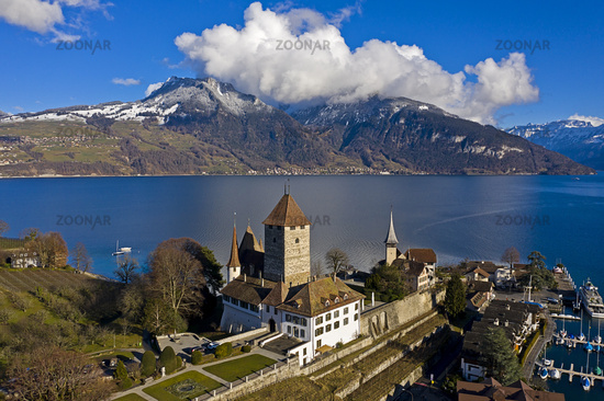 Spiez Castle located on a peninsula at Lake Thun, Thunersee, Spiez, canton of Bern, Switzerland