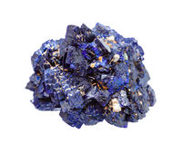 rough Azurite mineral crystals isolated on white