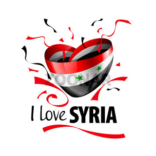 National flag of the Syria in the shape of a heart and the inscription I love Syria. Vector illustration
