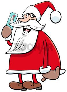 cartoon Santa Claus Christmas character with smart phone