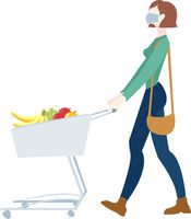 Woman In Mask Is Carrying A Grocery Cart White Background
