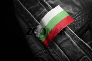 Tag on dark clothing in the form of the flag of the Bulgaria
