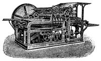 High-speed press with circular motion by Koenig  Bauer, 1896. Illustration of the 19th century.