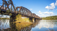 Railway bridge over the Fraser River in Prince George British Columbia Canada
