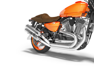 concept high speed orange motorcycle two cylinders 3d render on white background with shadow