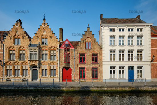 Brugge canal and old houses. Bruges, Belgium