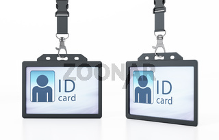 ID cards with people silhouette isolated on white background. 3D illustration