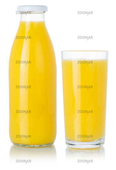 Orange fruit juice smoothie drink in a bottle and glass isolated on white