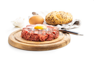 Beef tartare steak with yolk