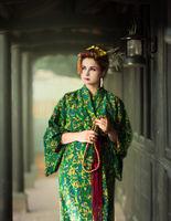 European woman in Geisha kimono