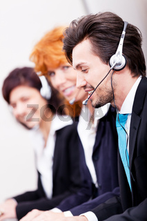 smiling callcenter agent with headset support