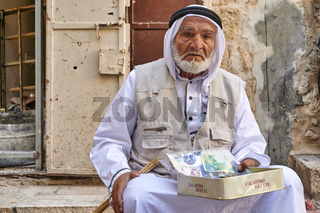 Jerusalem Israel. Portrait of an old arab beggar man in the old city
