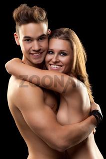 smiling couple on black