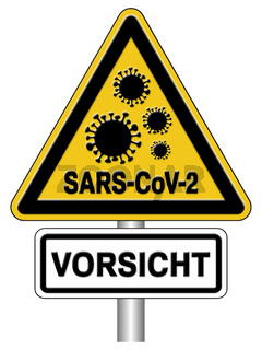 Warnschild Coronavirus SARS-CoV-2 Covid-19