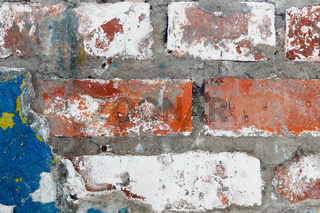 Old plaster with remnants of paint