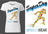 Women White T-shirt Design with Sport Motif