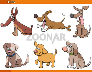 six dogs and puppies comic characters set